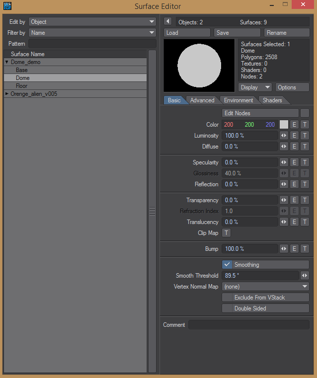 Surface settings for turning on polygons that light a scene